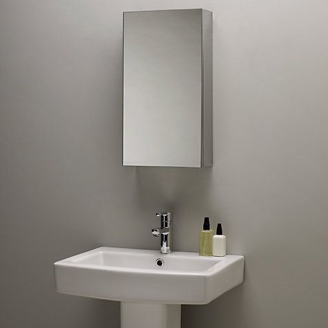 buy john lewis single mirrored bathroom cabinet small stainless steel online at johnlewis