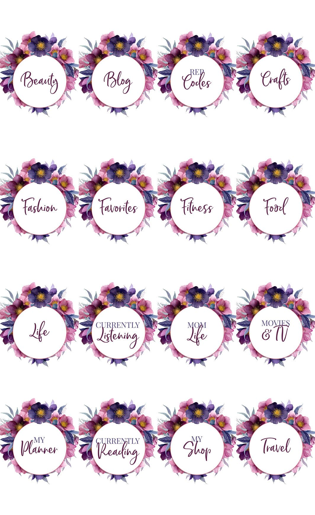 Instagram Story Highlight Cover Set of 16 Floral