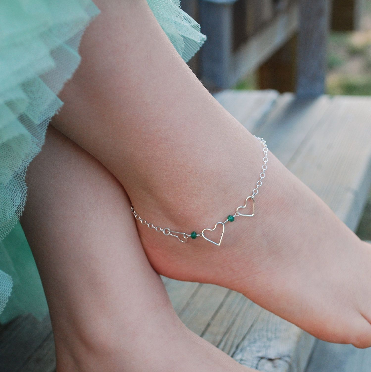listing heart minimalist fullxfull raw may photo chakra delicate gallery birthstone emerald il anklet