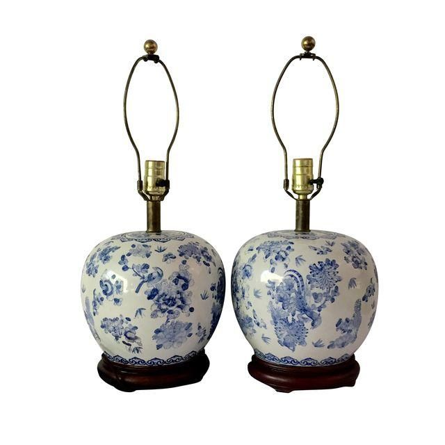 image of vintage chinese blue white ginger jar lamps pair - Ginger Jar Lamps