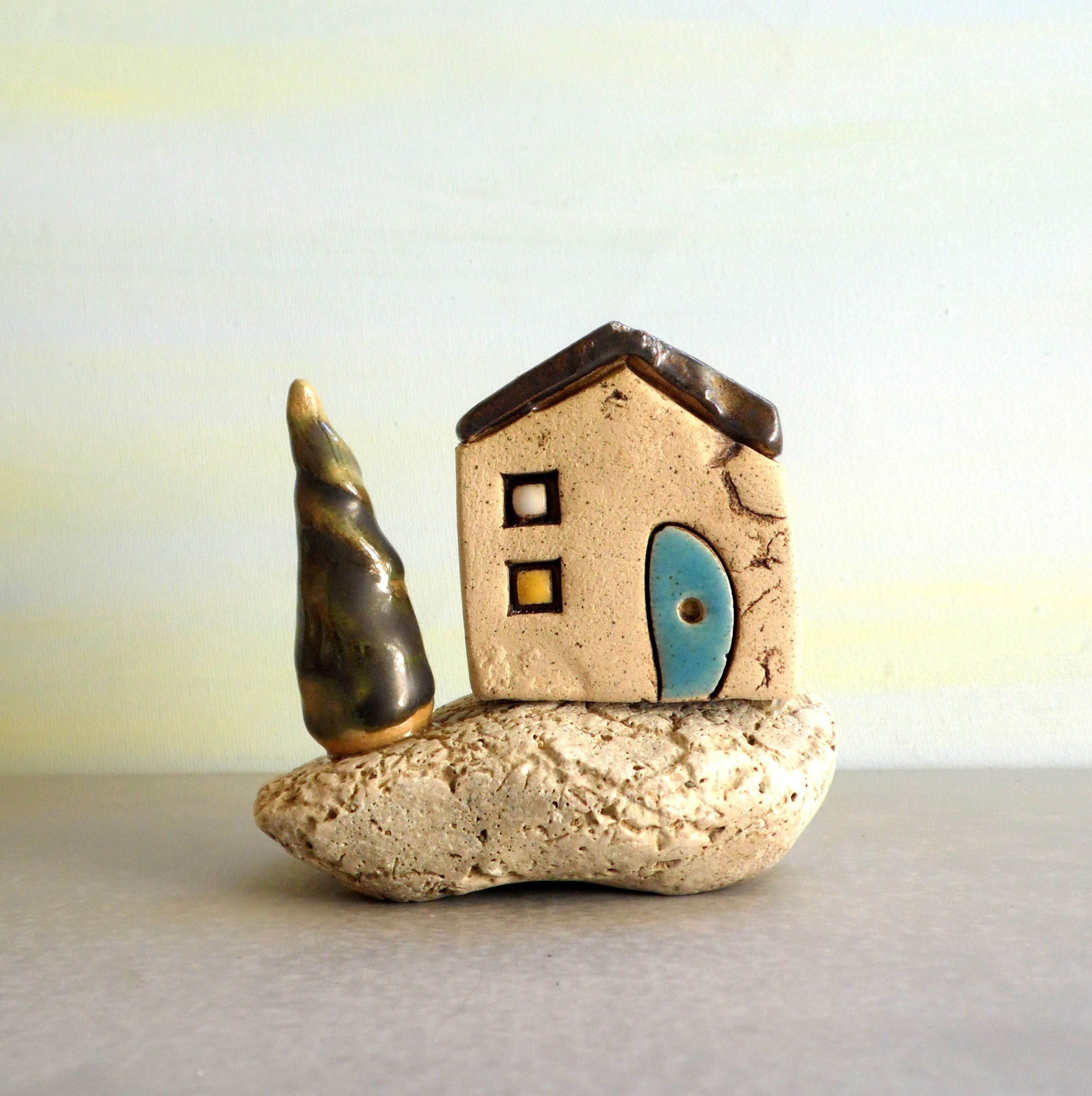 Ceramic sculpture, Miniature house, Israeli art, Stocking stuffer ...