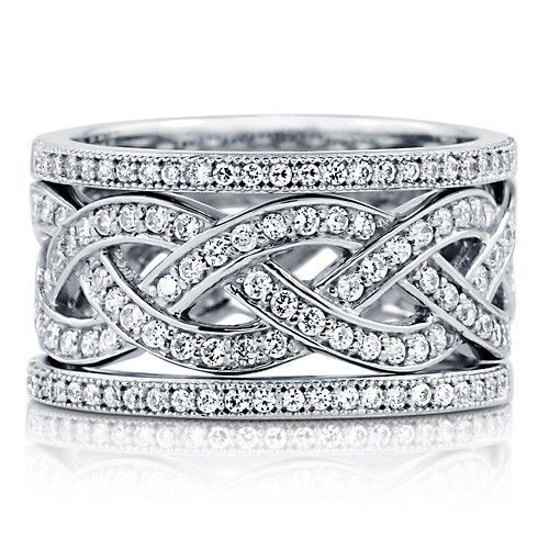 Pave Set Clear Cubic Zirconia CZ 925 Sterling Silver Woven Ring With Half Eternity Band Fashion Stackable Ring Set