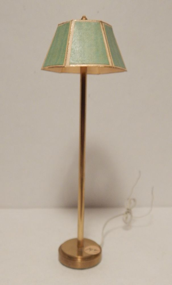 Miniature Dollhouse Brass Floor Lamp Green Shade Wired Works