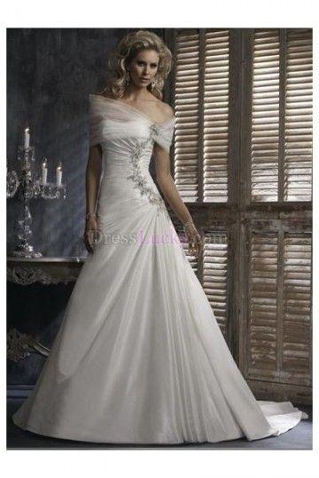 White Strapless Sleeveless Long/Floor-length Taffeta Wedding Dresses With Ruffles WD207D