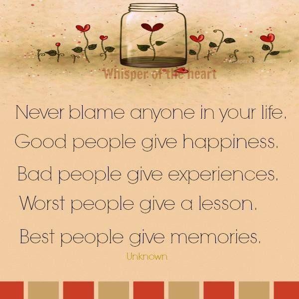 never blame...