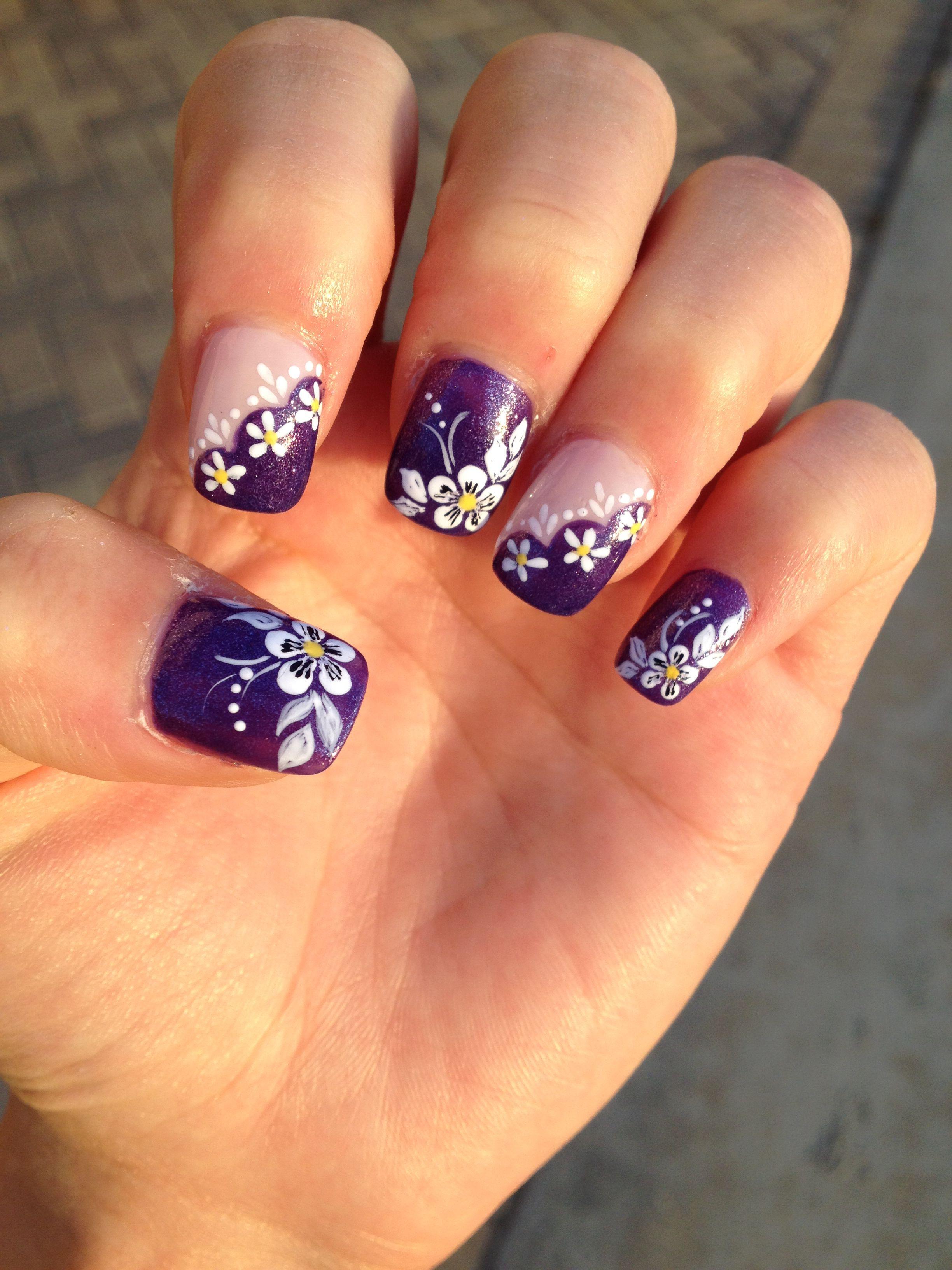 Fantastic nail artist!! She got a big tip. :) Purple with white ...