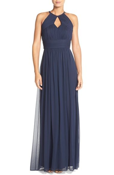 e19cd7e0b2e5 Dessy Collection Ruched Chiffon Keyhole Halter Gown available at #Nordstrom