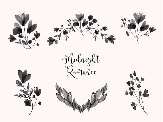 Black Rose Clipart Black And White Clipart Black Watercolor