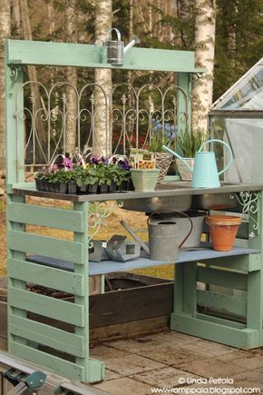 DIY garden potting table using pallets & old sink Romppala - Lindan pihalla