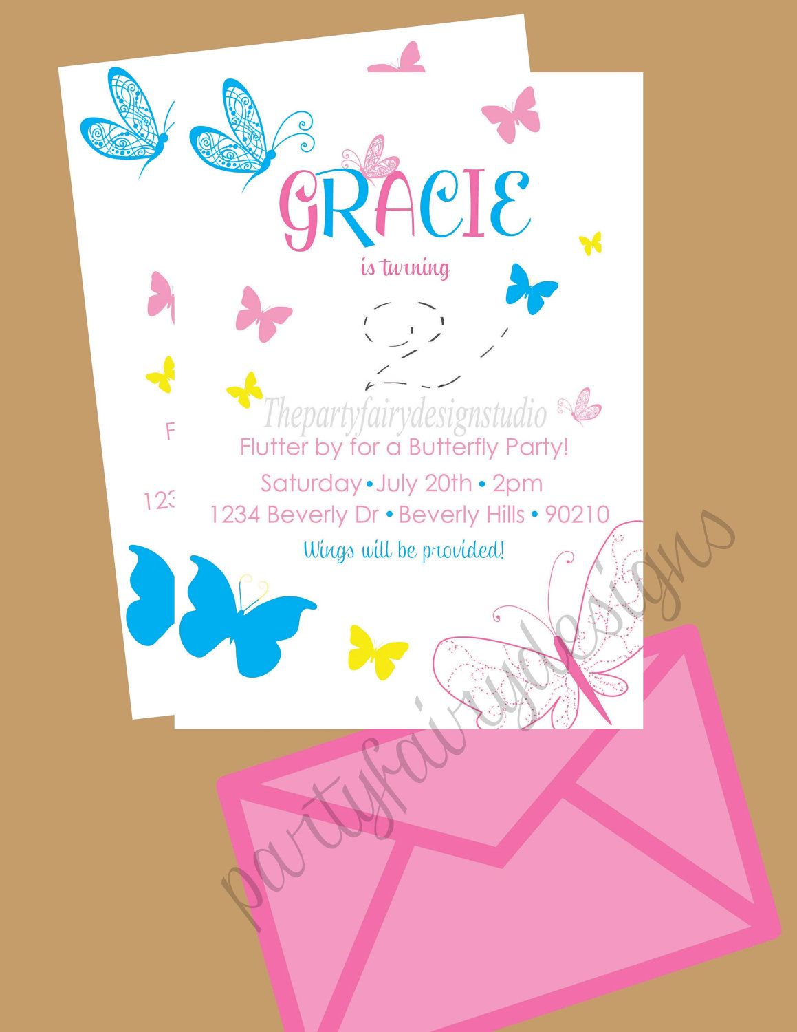 Cute printable butterfly birthday party invites from ...