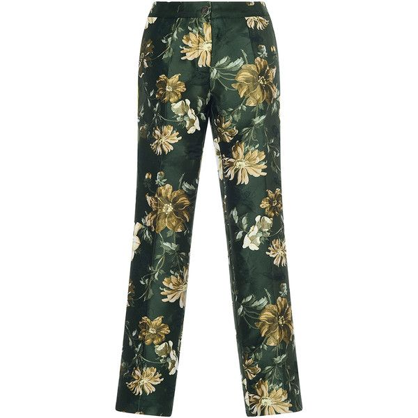 For Restless Sleepers Crono Floral Jacquard Pant (8,445 MXN) ❤ liked on Polyvore featuring pants, print pants, wide-leg pants, floral wide leg pants, patterned pants and elastic waist pants