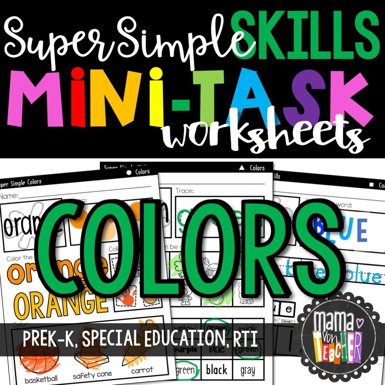 Super Simple Skills Color Worksheets No Prep Print Amp Go