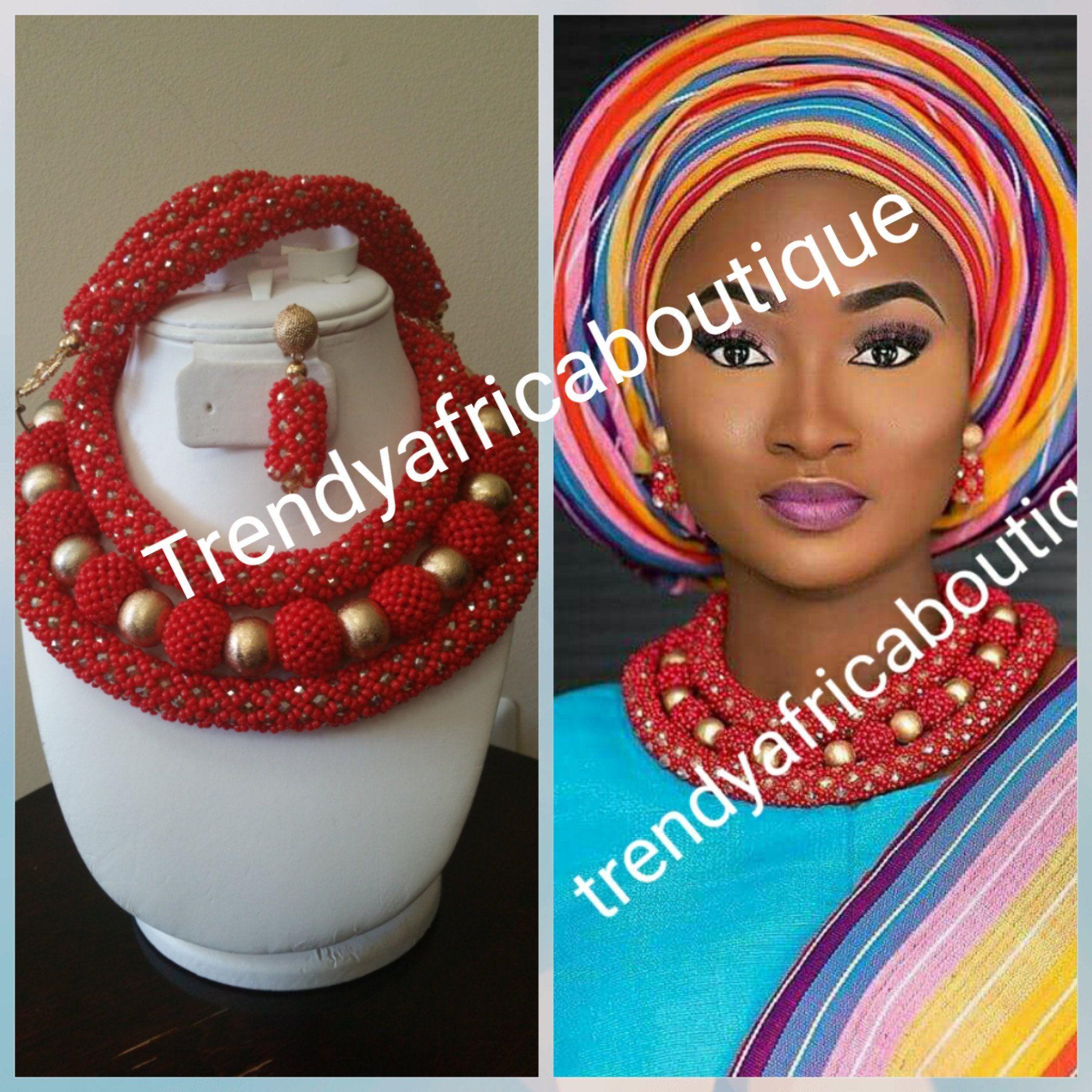 Africanbeads Parure de bijoux de mariage nig/érienne avec perles en corail orange