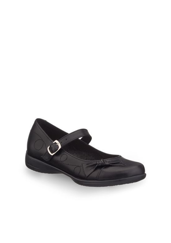 2217e8b0 Zapato escolar de superficie lisa con correa ajustable de hebilla y  decoración de moño en punta.