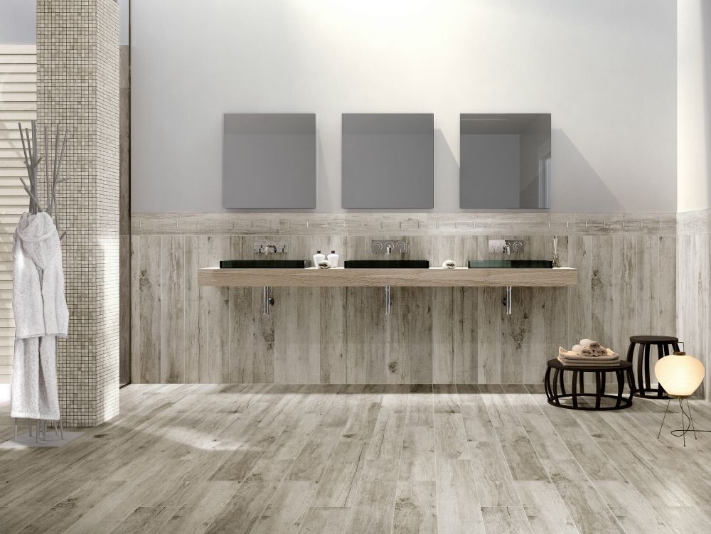 Vintage wood look tiles by serenissima bathroom remodel legno