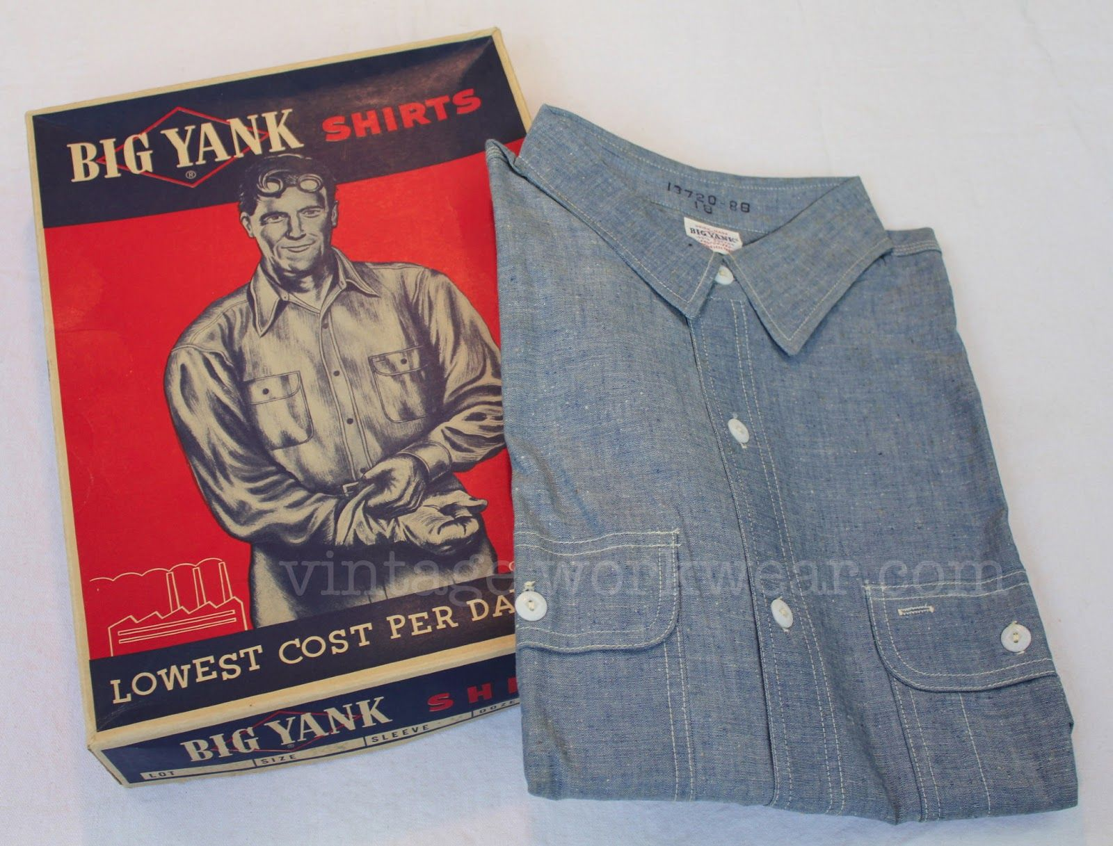 Vintage Big Yank Chambray Work Shirt With Sweat Proof Pocket Vintage Clothing Men Shirts Work Shirts