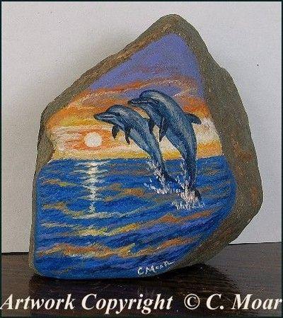Dolphin Sea Sunset Original Rock Art Painting Cmoar Sfa 04 24 2010 Steine Bemalen Steinmalerei Steine