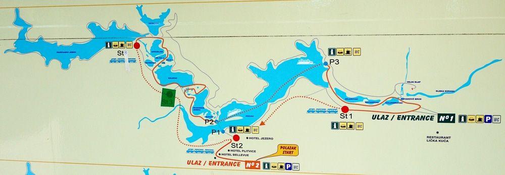 Map of Plitvice Lakes National Park, Croatia