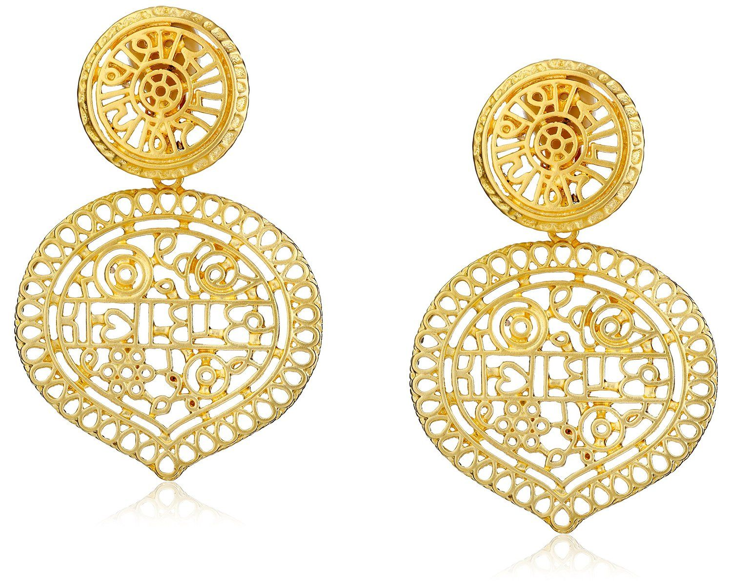 Gold-tone drop earrings featuring astrology- and nature-inspired filigree Clip-on back finding Made in United States.   Price: $95.00 & FREE Shipping. FREE Returns.
