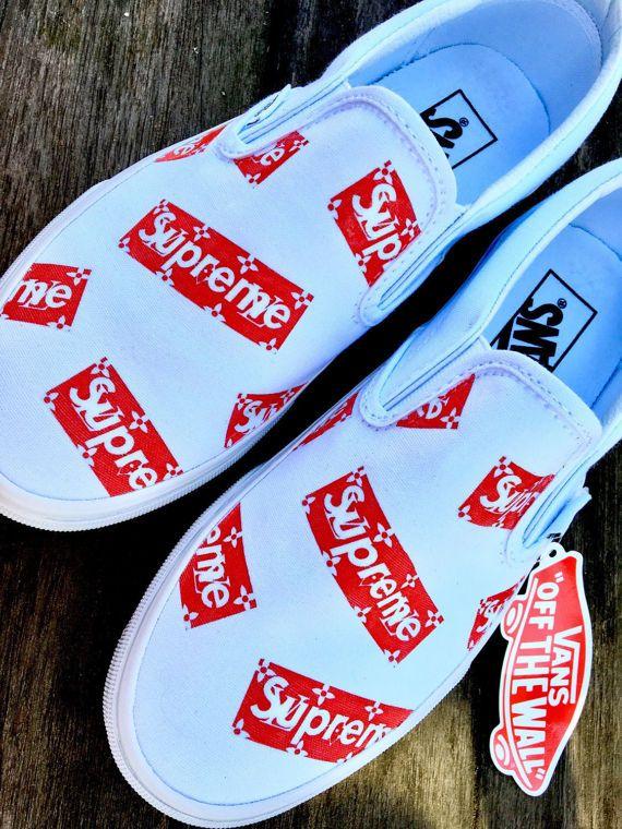 SALE SUPREME x LV Slip On Vans Custom by KixNY on Etsy