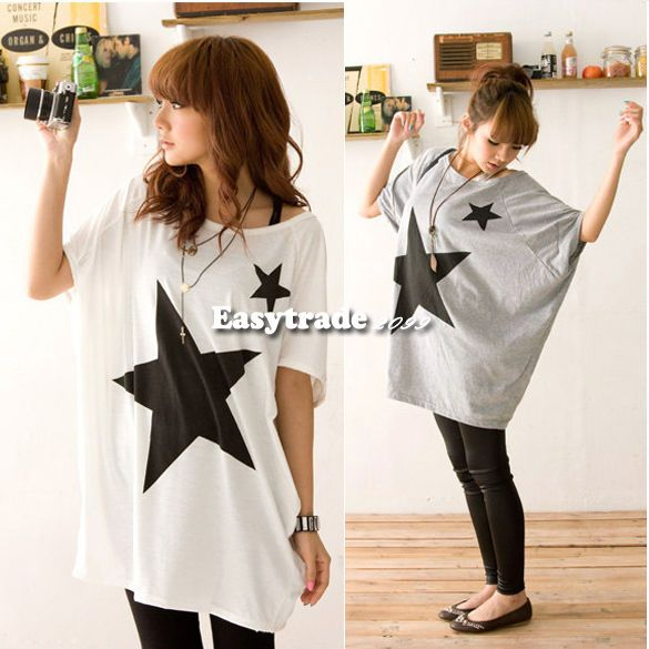 ESY  2 Colors Women Star Bat Loose Print Short Sleeve T-shirt Top Blouse Fashion #Unbranded