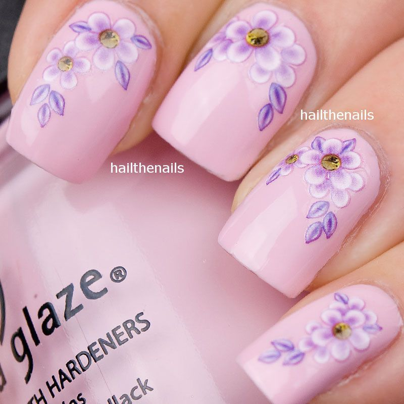 Nail Wrap Art Water Transfer Decal Lilac Daisy Flower Nail Art