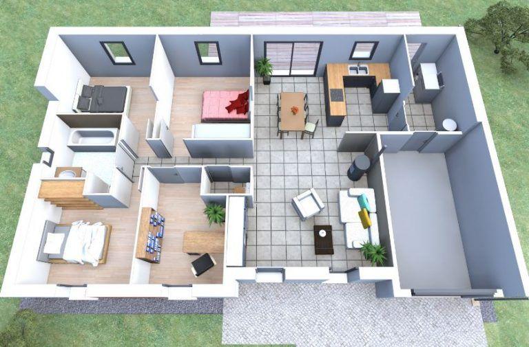 Planos de casas de 100 metros cuadrados en 3d monadas - Planos de casas de 100 metros cuadrados ...
