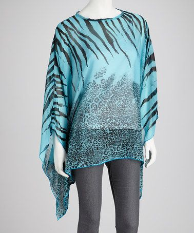 Take a look at this Blue & Black Tiger Stripe Sidetail Top by SR Fashions on #zulily today!