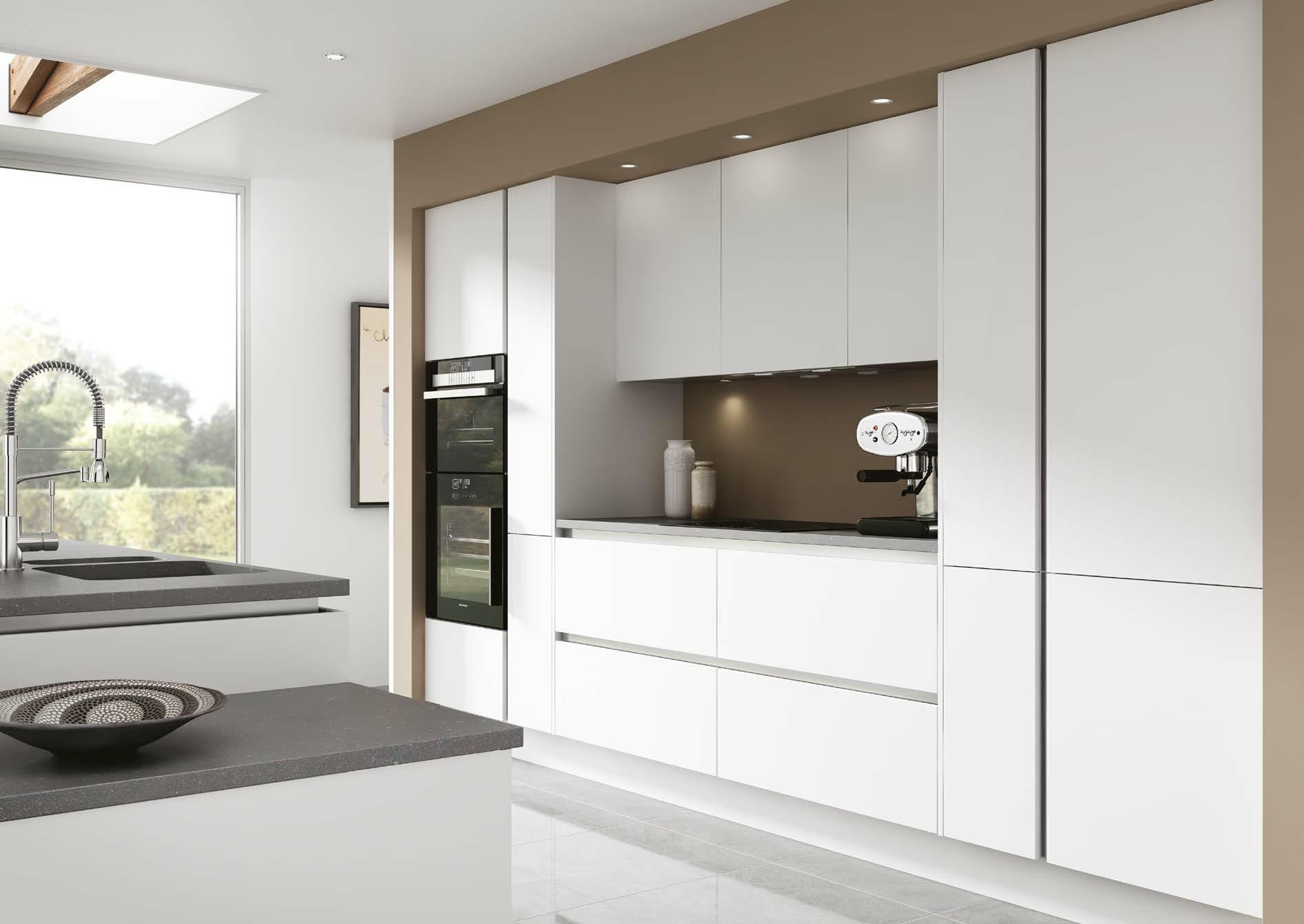 True Vista Matt White Handleless Kitchen By Sheraton Interiors - Fitted kitchen design ideas