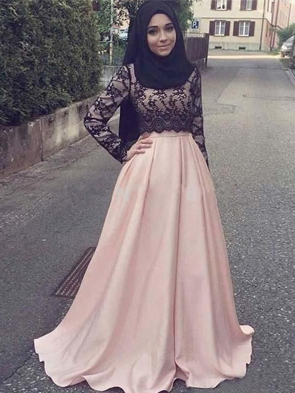 Photo of Chicloth A-Line Long Sleeves Scoop Sweep/Brush Train With Applique Satin Muslim Dresses