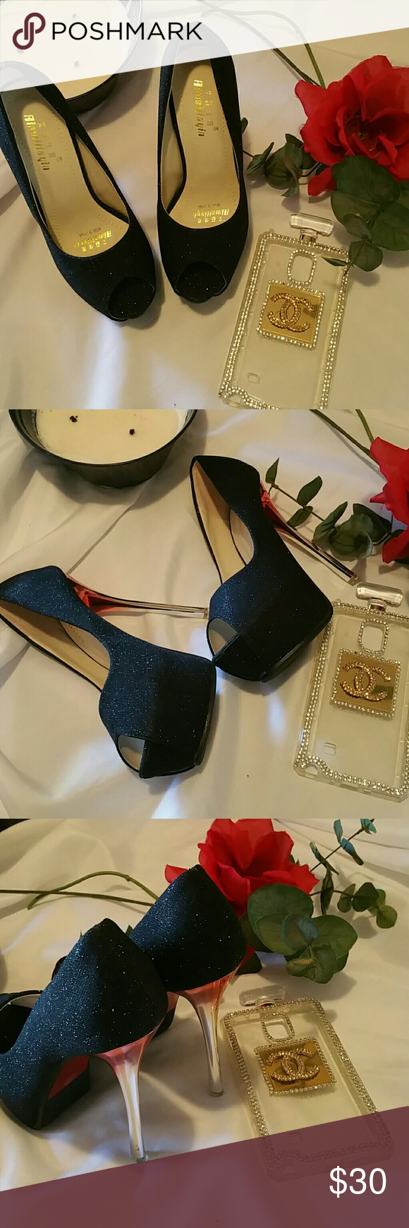 AMJY PLATFORM HEELS NIB  NEVER BEEN WORN COMES WITH BOX  DUST COVERS TO SMALL SIZE 36  Black with Glitter silver and red heel AMJY Shoes Platforms