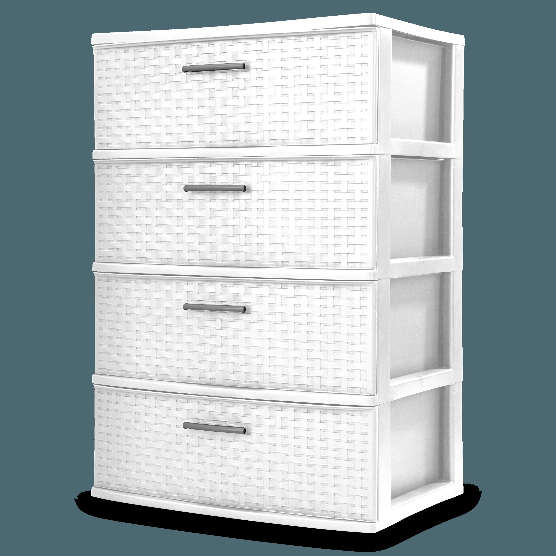Sterilite 4 Drawer Wide Weave Tower White Walmart Com In 2020 Plastic Storage Drawers Sterilite Decorative Storage
