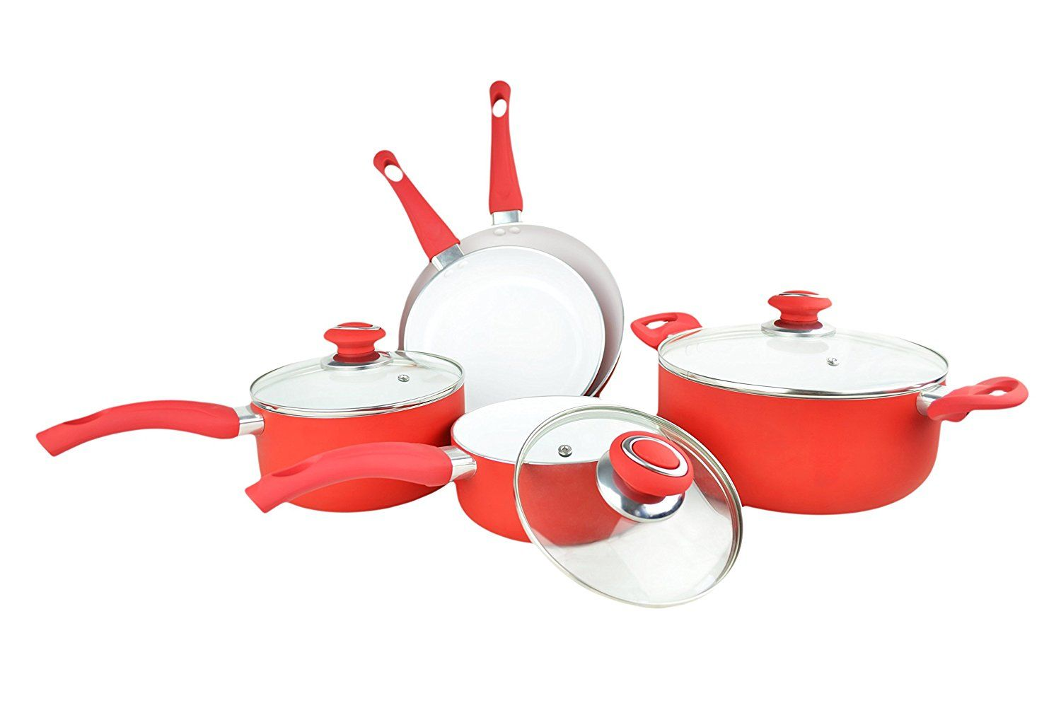 Maxware 8 Piece Eco Friendly Non Stick Ceramic Cookware Set With Soft Grip Red See This Great Product Ceramic Cookware Ceramic Cookware Set Cookware Sets