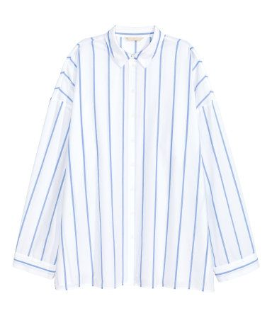Oversized Cotton Shirt | White/blue striped | Women | H&M US