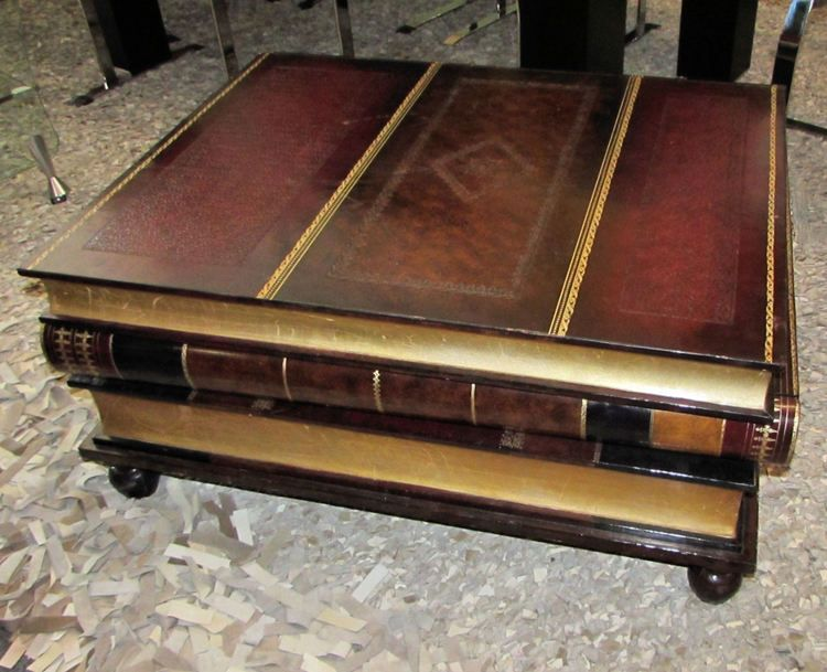 maitland smith leather book coffee table | projects i would like