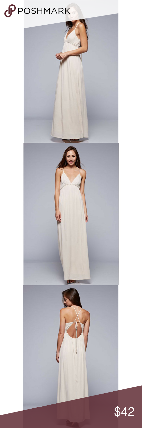 Strappy Backless Maxi Dress Fun and flirty moroccan style maxi with a sexy detailed strappy tie back.  Color - Cream Love Stitch Dresses Maxi