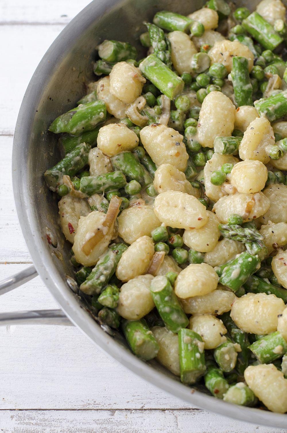 Spring Vegetable Gnocchi // gnocchi, shallots, asparagus, spring peas, parmesan cheese, heavy cream