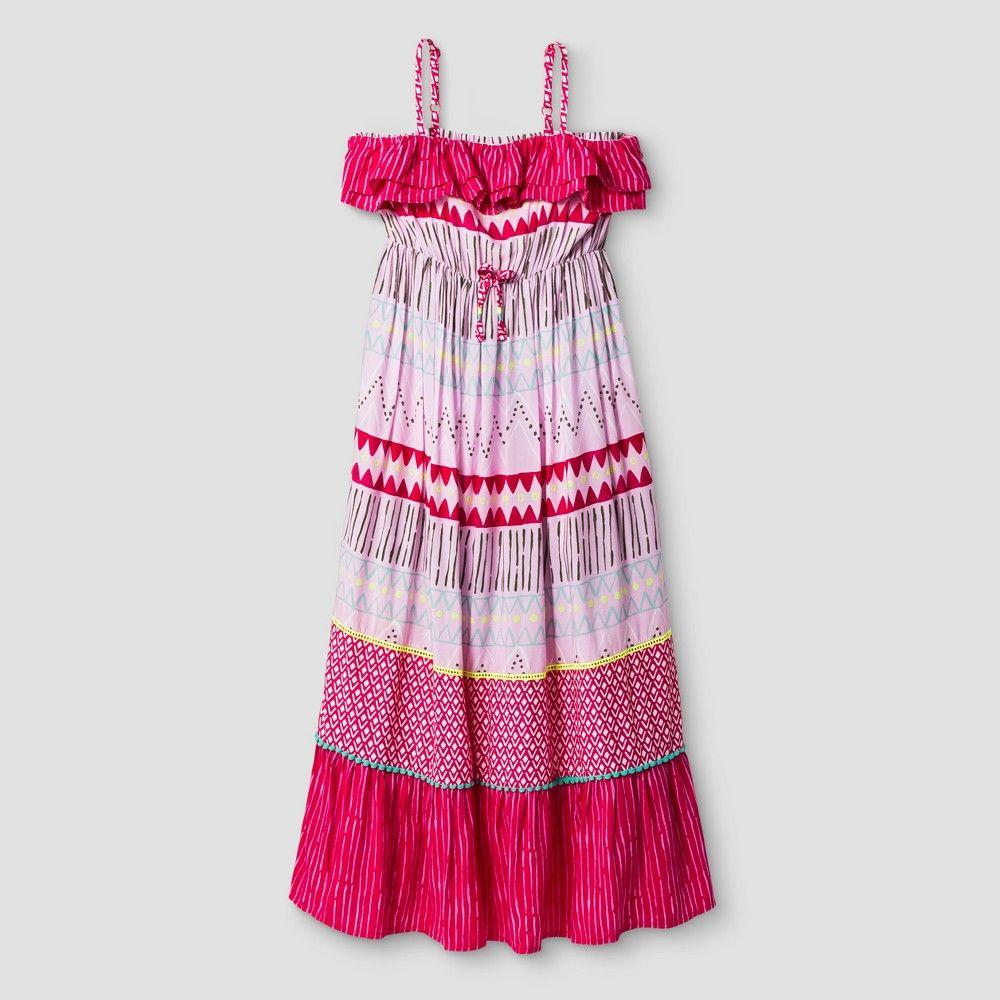Girls' Sleeveless Print Maxi Dress Cat & Jack Pink XL, Girl's
