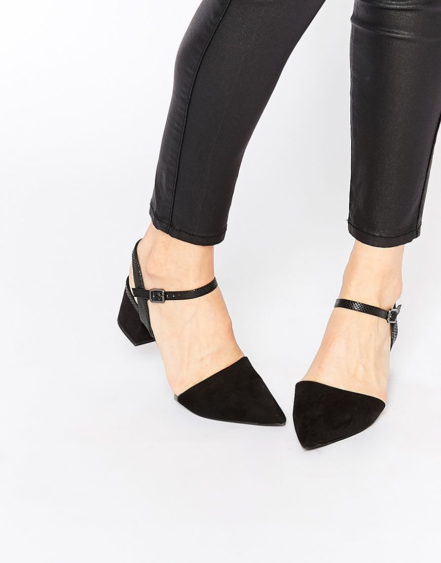 Image 1 of New Look Pint Black Mid Block Heel Two Part Shoes ... 69f196e973f2