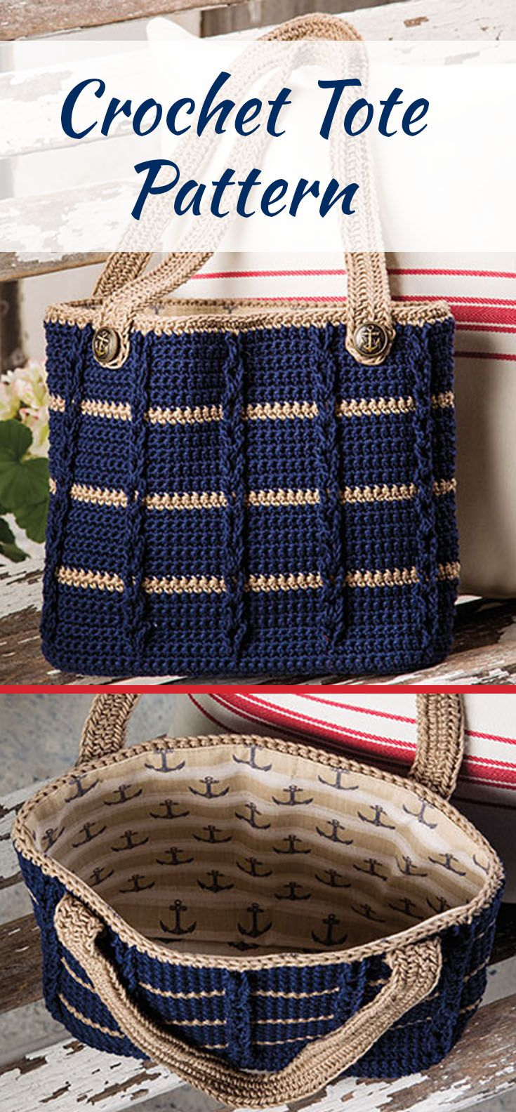 Adorable lined crocheted tote has cables and glamor. Electronic download crochet pattern.  #affiliate #crochetpattern