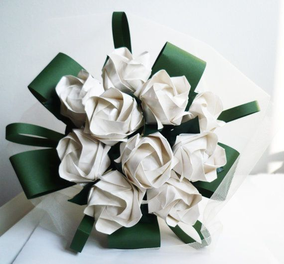 Origami rose bouquet by EMIpaperANDflowers on Etsy