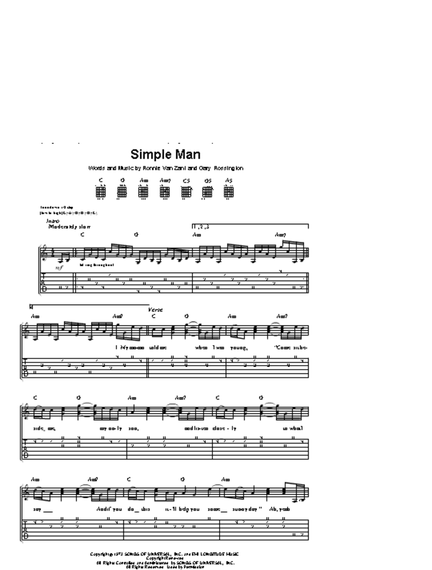 Easy Guitar Chords Lynyrd Skynyrd Simple Man Guitar Tab