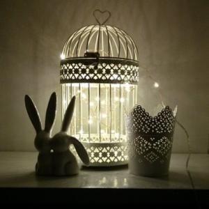 Luces en Jaula decorativa  www.elreydelanavidad.com