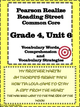 Grade 4 Unit 6 Reading Vocabulary for Word Walls | All my tpt