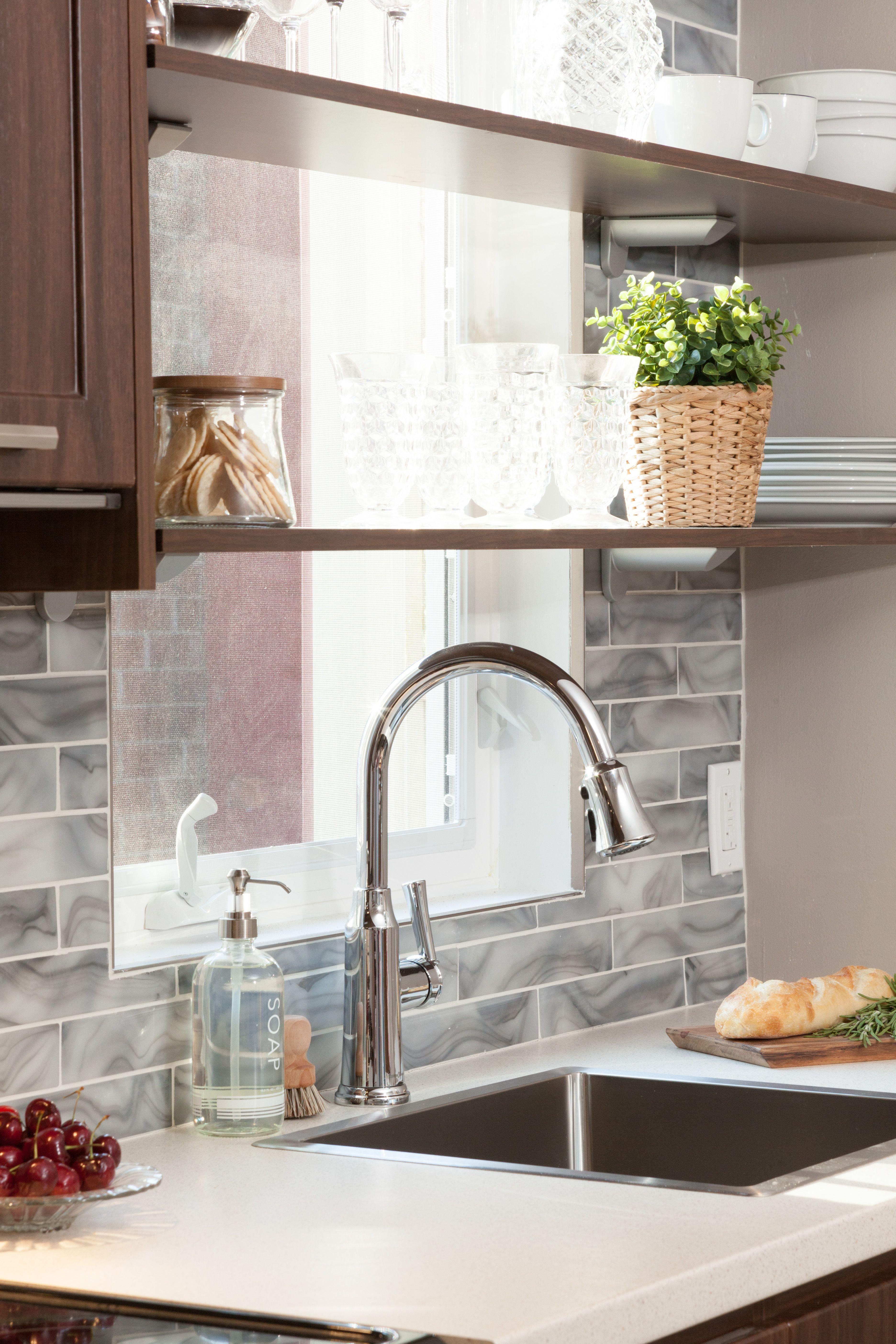 Backsplash around kitchen window  income property andrew u maria  income property shelves and glass