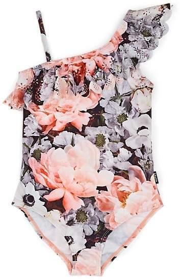 7f955e70a72e4 Molo Kids Kids' Floral Asymmetric One-Piece Swimsuit - Peach ...