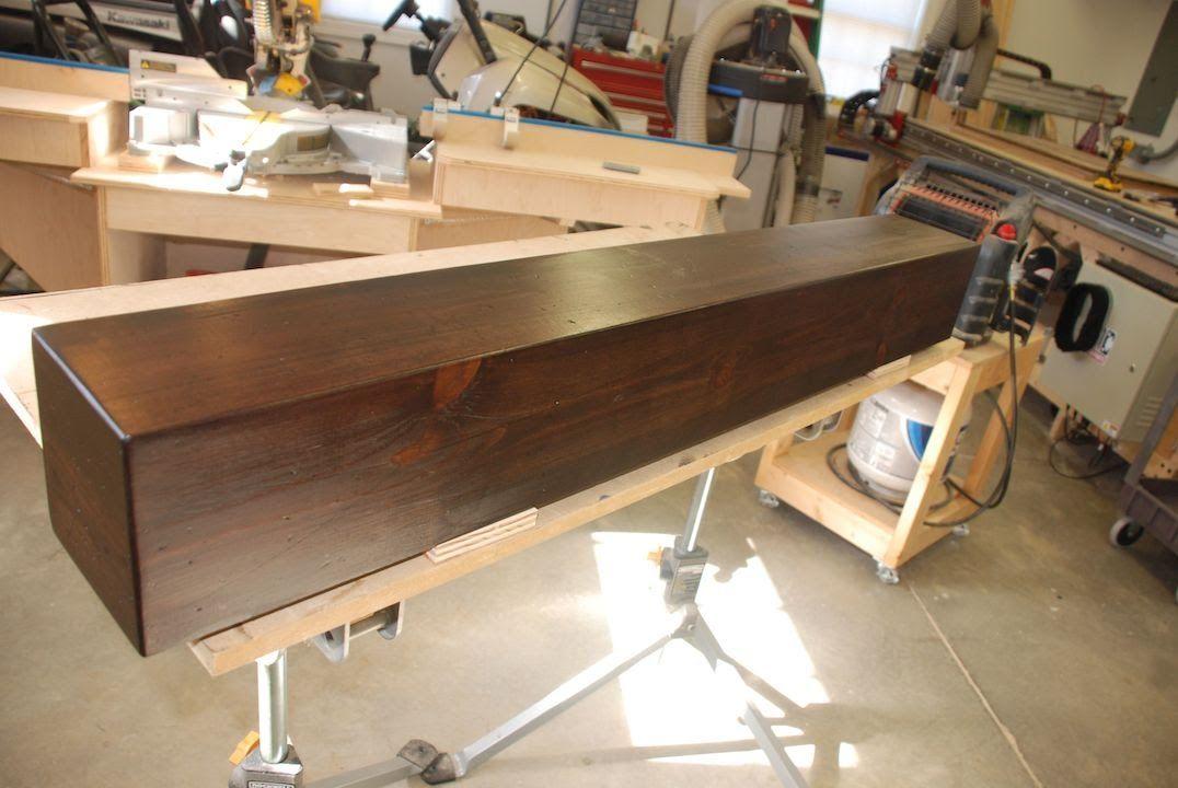 Build a rustic faux beam mantel or shelf great video diy