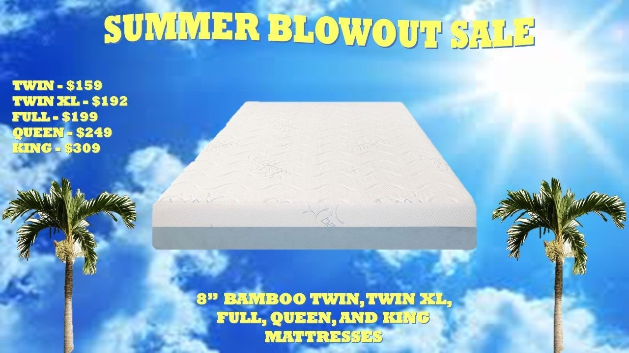 8 inch cool bamboo gel memory foam mattress blowout sale w free