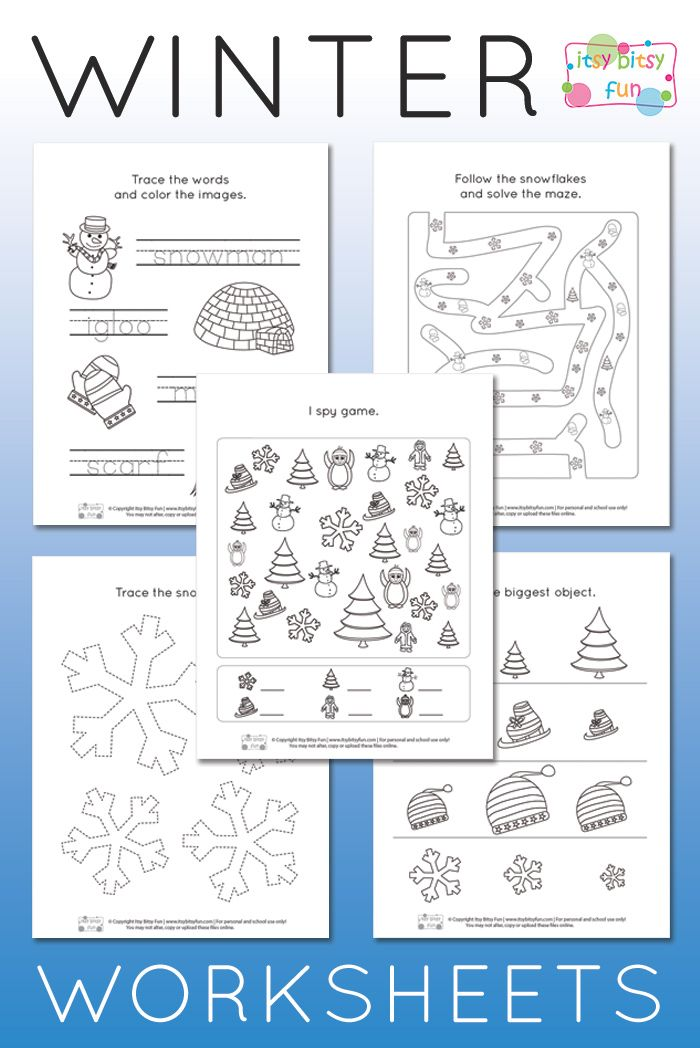 Printable Worksheets pre k color worksheets : Winter Worksheets for Kindergarten | Worksheets, Free printable ...