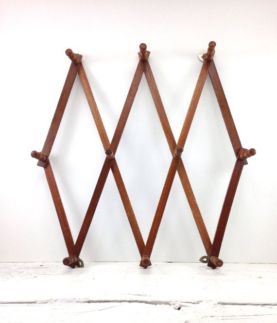 Vintage Wooden Accordion Peg Rack Wall Hanging Jewelry